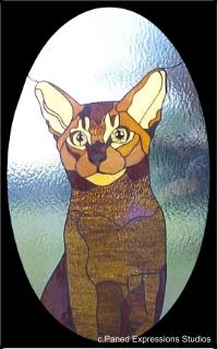 Stained Glass Window-Ruddy Abyssinian Cat