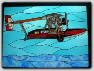 Stained Glass Airplane Pane