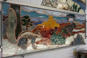 "Grand Canyon Summer 23.5"" Wide x 8"" High -stained glass cut and foiled"