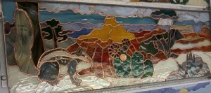 "Grand Canyon Summer 23.5"" Wide x 8"" High -stained glass w/penny"