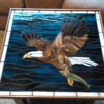Stunning Eagle Stained Glass Mosaic Table Top – Emma Roberts Did a Great Job!