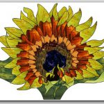 July-August Free Monthly Stained Glass Sunflower Pattern is Posted – Fan Lamp