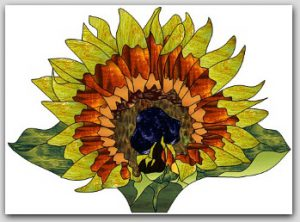 Sunflower Fan Lamp Stained Glass Design © 2008 Paned Expressions Studios
