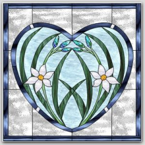 Floral Heart Panel Stained Glass Design © 2016 Paned Expressions Studios